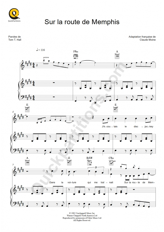 Sur la route de Memphis Piano Sheet Music - Eddy Mitchell