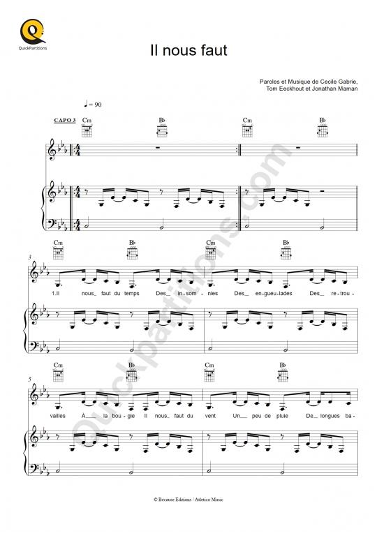 Partition piano Il nous faut - Elisa Tovati