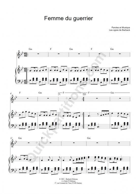 Partition piano Femme du guerrier - Les ogres de barback