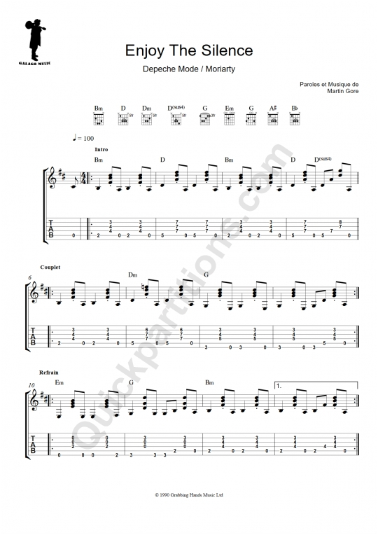 Tablature Guitare Enjoy the Silence - Galagomusic