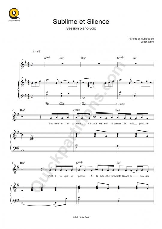 Partition piano Sublime et Silence - Julien Doré