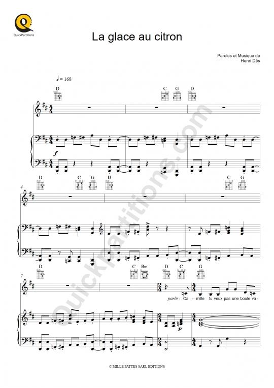 Partition piano La glace au citron - Henri Dès