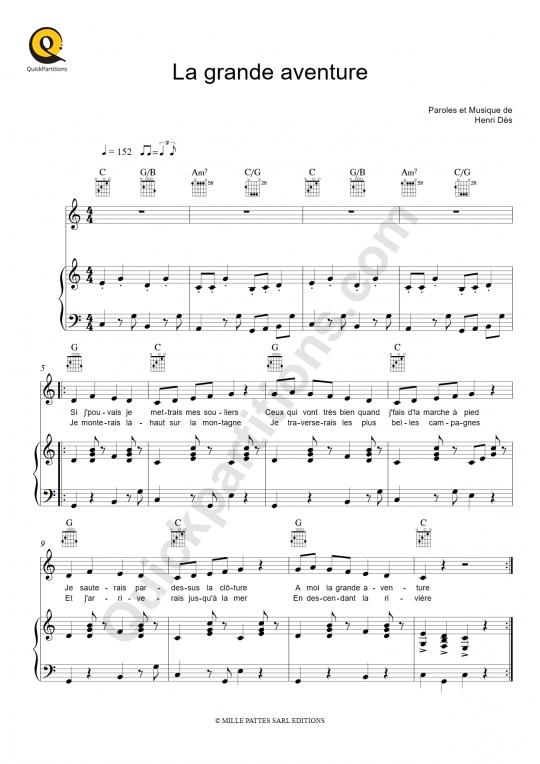 Partition piano La grande aventure - Henri Dès