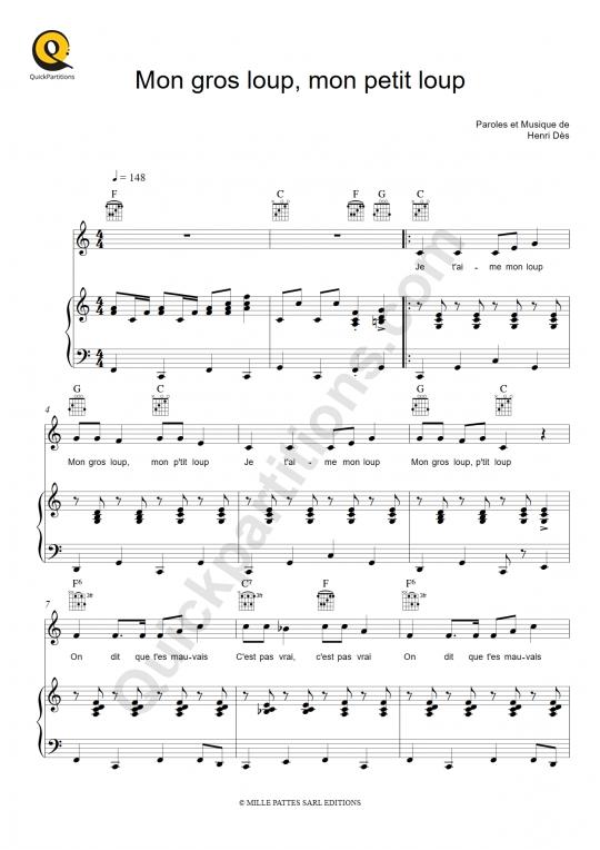 Mon gros loup, mon petit loup Piano Sheet Music - Henri Dès