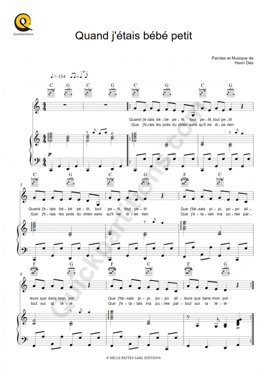Partition piano Quand j'étais bébé petit - Henri Dès