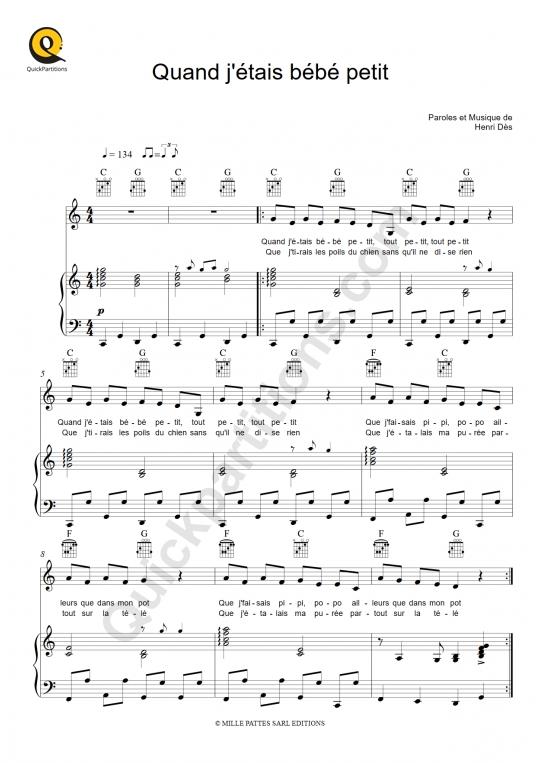 Quand j'étais bébé petit Piano Sheet Music - Henri Dès