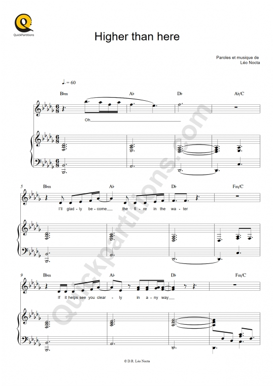 Higher than here Piano Sheet Music - Leo Nocta