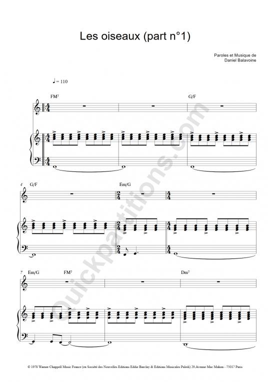 partition piano les oiseaux balavoine