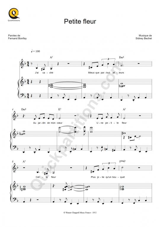 Partition piano Petite fleur - Thomas Dutronc