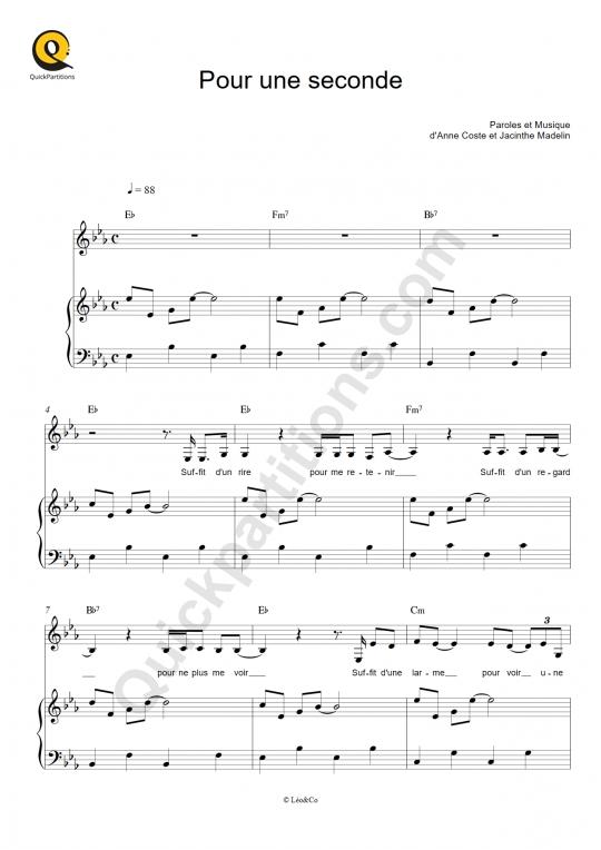 Pour une seconde Piano Sheet Music - Les frangines