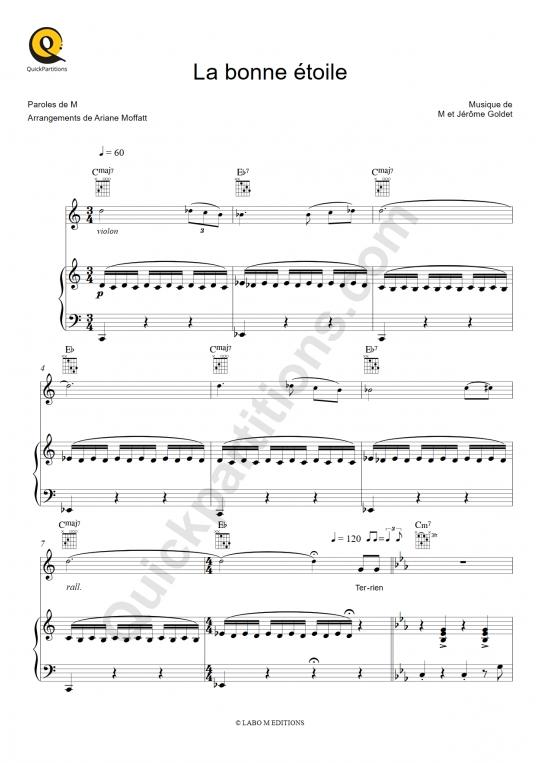 Partition piano La bonne étoile - M