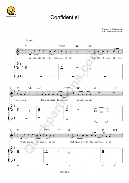 Confidentiel Piano Sheet Music - Jean-Jacques Goldman