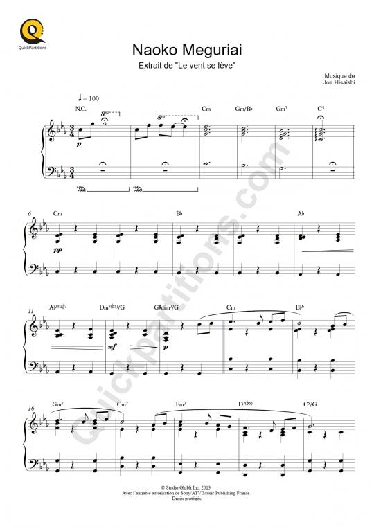 Partition piano Naoko Meguriai (Le vent se lève) - Joe Hisaishi