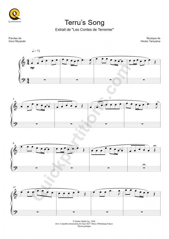 Partition piano Terru's Song (Les Contes de Terremer) - Hiroko Taniyama