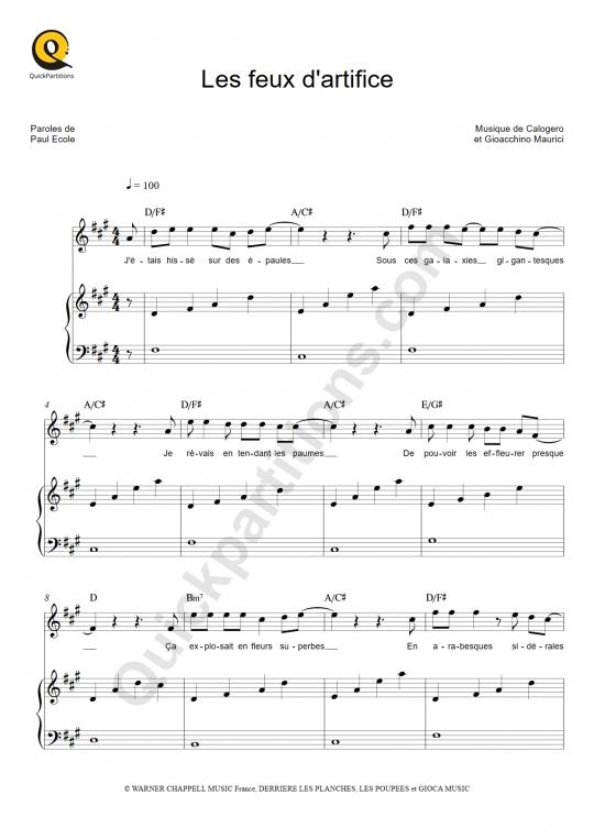 Partition piano Les feux d'artifice - Calogero