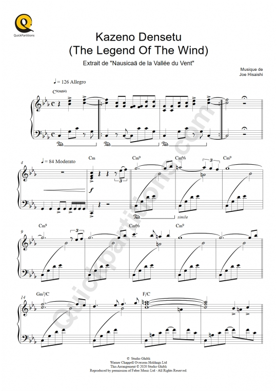 Partition piano Kazeno Densetu (Nausicaä de la Vallée du Vent) - Joe Hisaishi
