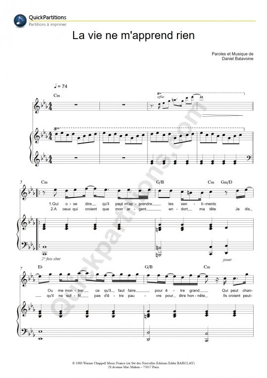 Partition piano La vie ne m'apprend rien - Daniel Balavoine