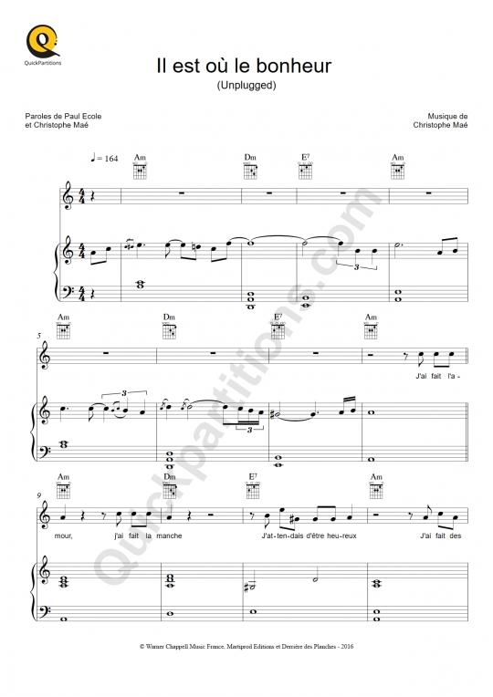 Partition piano Il est où le bonheur (Unplugged) - Christophe Maé