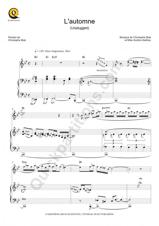 Partition piano L'automne (Unplugged) - Christophe Maé