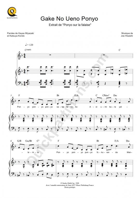 Partition piano Gake No Ueno Ponyo (Ponyo sur la falaise) - Joe Hisaishi