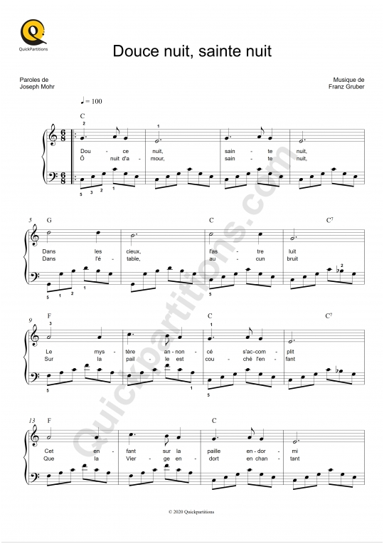Douce nuit, sainte nuit Piano Sheet Music - Noël