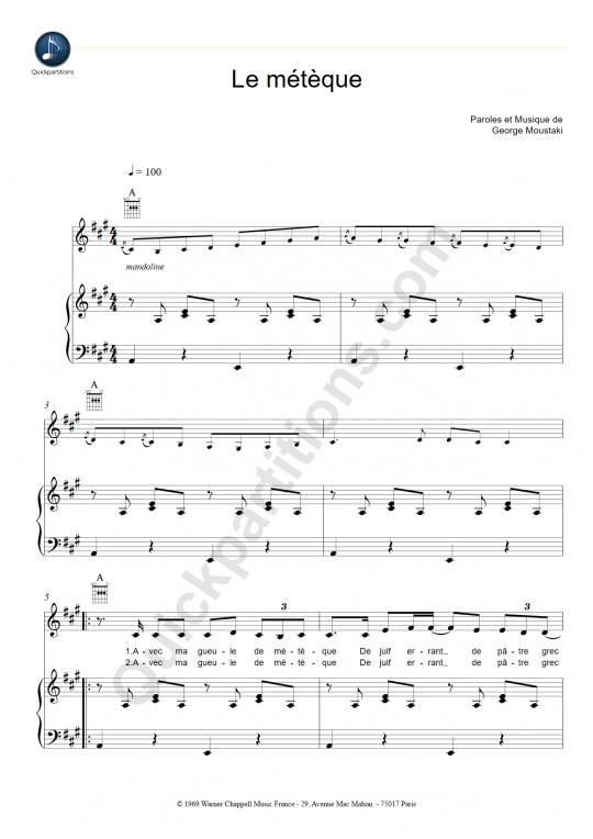 Partition piano Le Métèque - Georges Moustaki