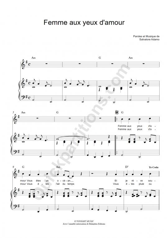 Femme aux yeux d'amour Piano Sheet Music - Salvatore Adamo