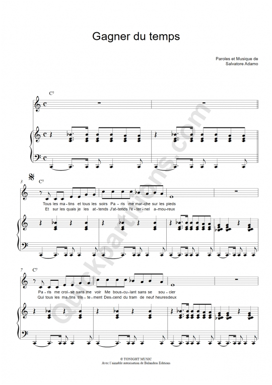 Gagner du temps Piano Sheet Music - Salvatore Adamo