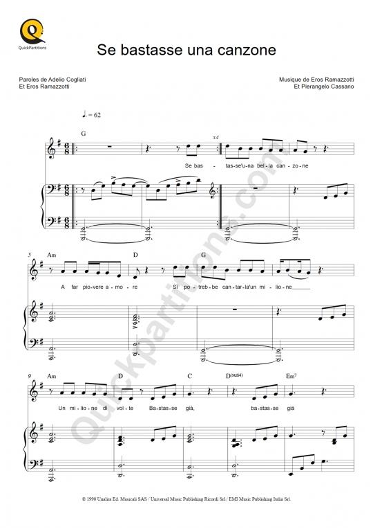 Se bastasse una canzone Piano Sheet Music - Eros Ramazzotti