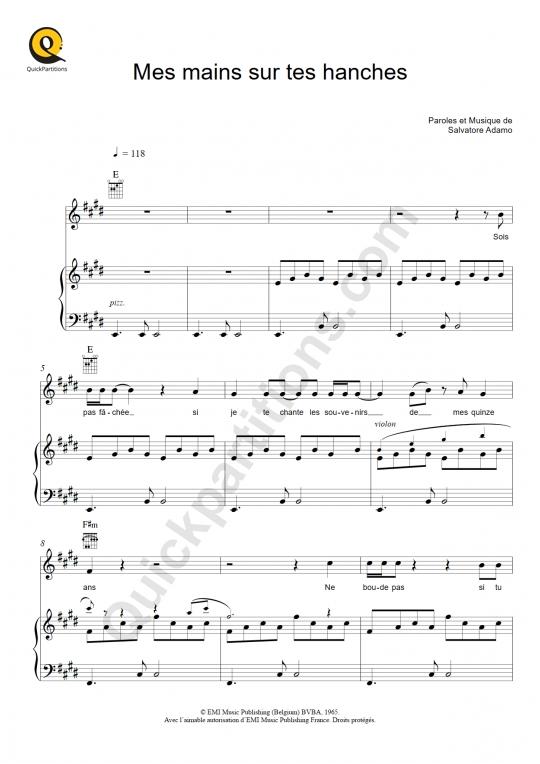 Partition piano Mes mains sur tes hanches - Salvatore Adamo