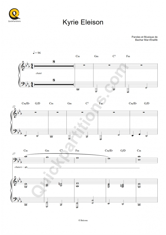 Kyrie Eleison Piano Sheet Music - Bachar Mar-Khalifé