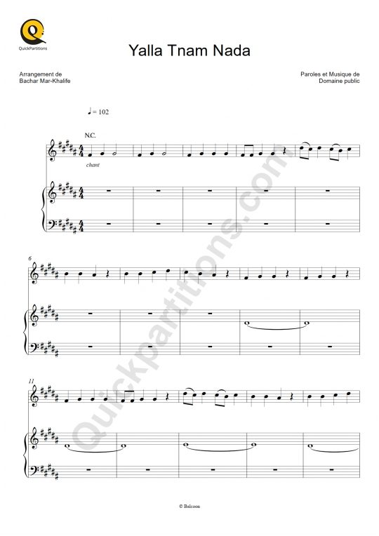 Partition piano Yalla Tnam Nada - Bachar Mar-Khalifé