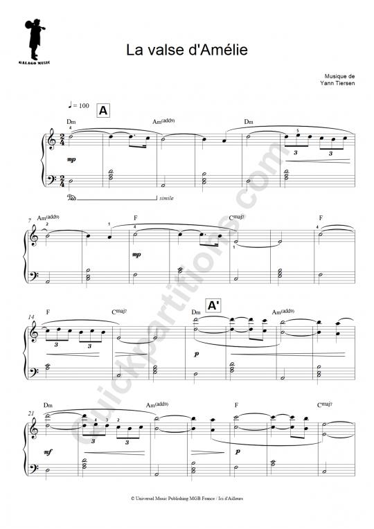 Partition piano facile La valse d'Amélie - Galagomusic