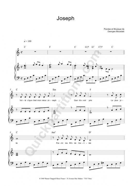 Partition piano Joseph - Georges Moustaki