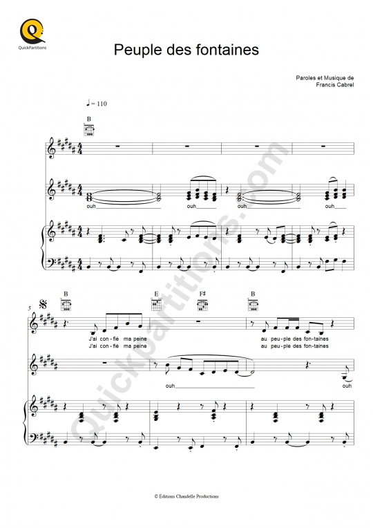 Peuple des fontaines Piano Sheet Music - Francis Cabrel