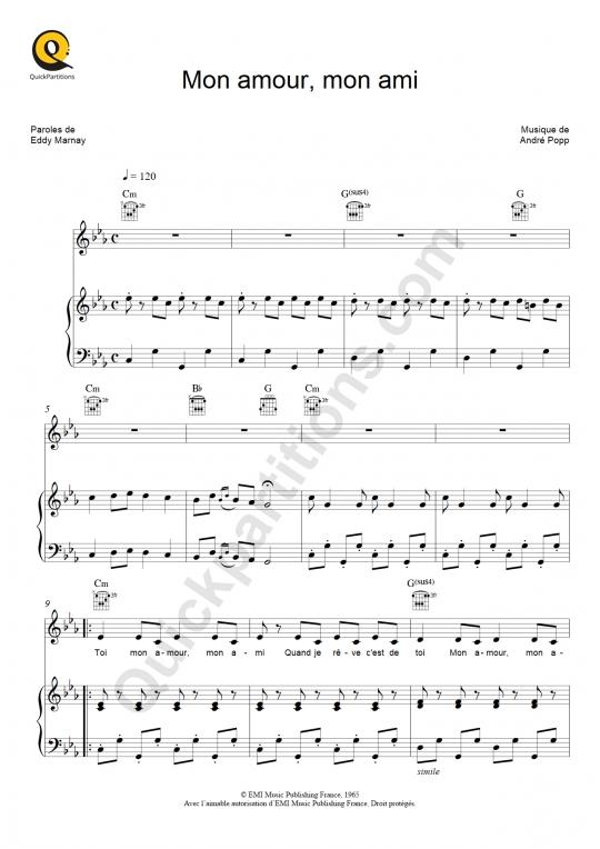 Mon amour, mon ami Piano Sheet Music - Marie Laforêt