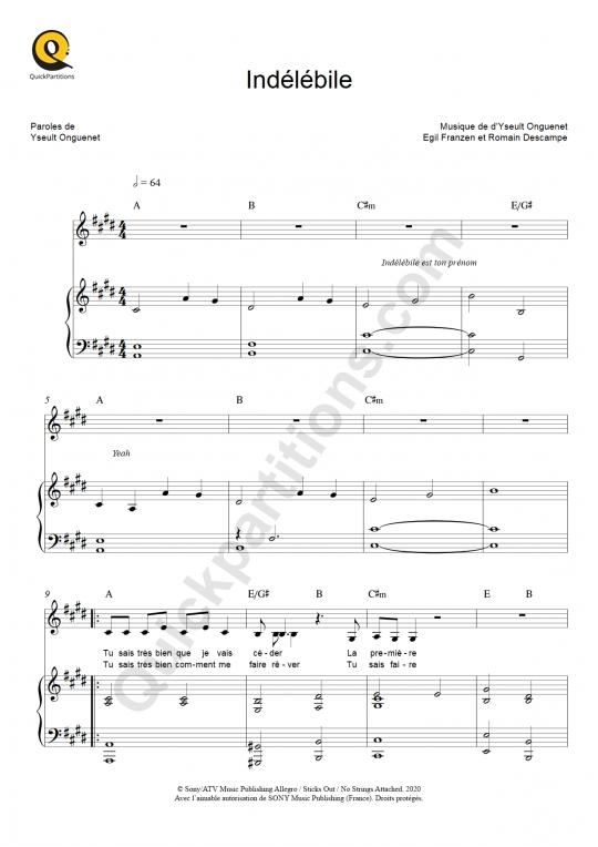 Partition piano Indélébile - Yseult