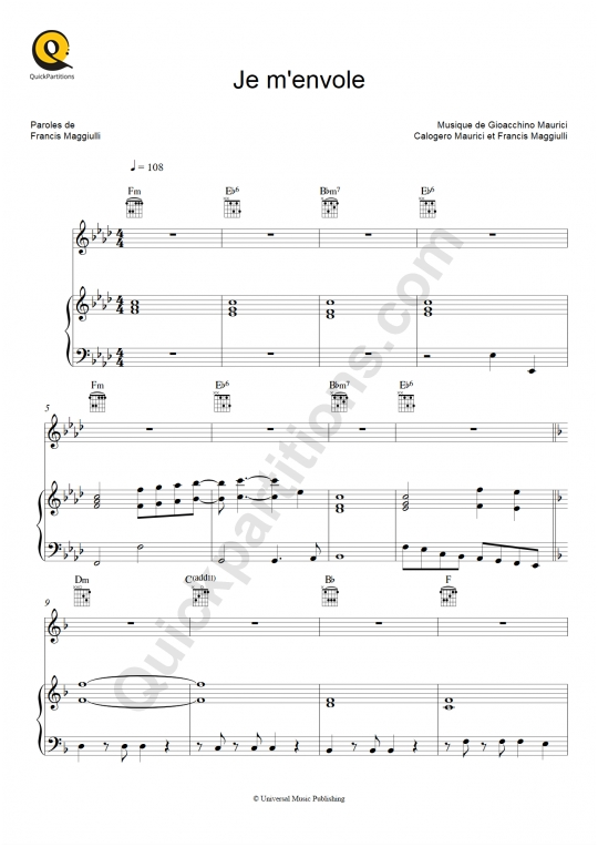 Je m'envole Piano Sheet Music - Charts