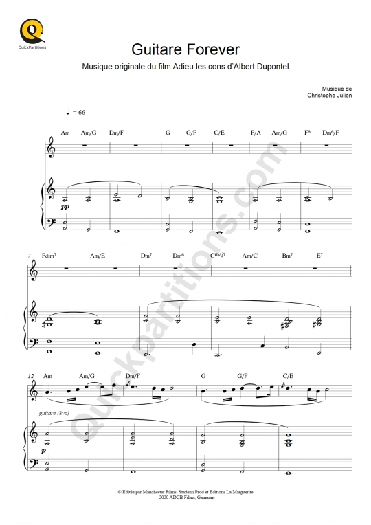 Guitare Forever (Adieu les cons) Piano and Solo Instrument Sheet Music - Christophe Julien