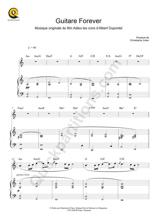 Partition piano et instrument solo Guitare Forever (Adieu les cons) - Christophe Julien