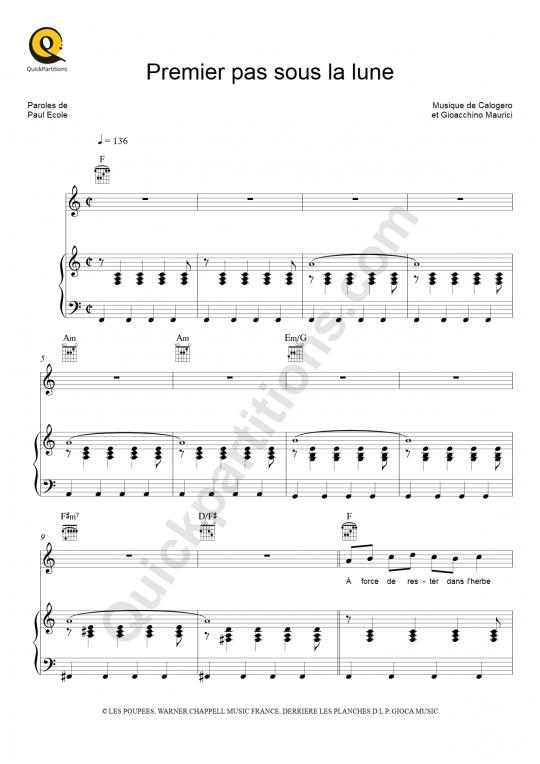 Premier pas sous la lune Piano Sheet Music - Calogero