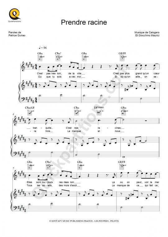 Prendre racine Piano Sheet Music - Calogero