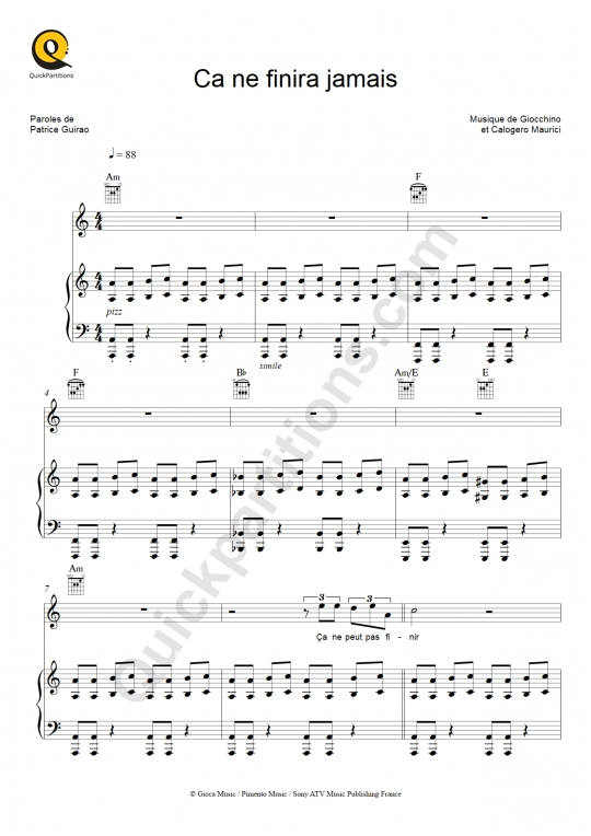 Ça ne finira jamais Piano Sheet Music - Johnny Hallyday