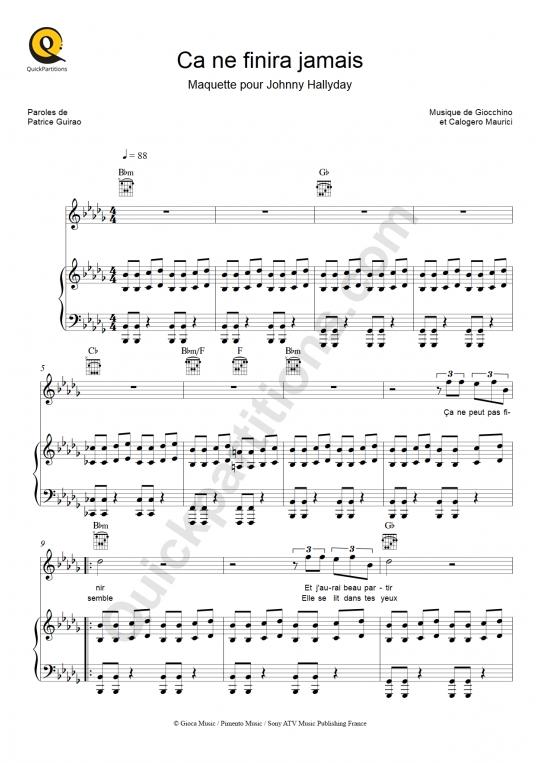 Partition piano Ça ne finira jamais - Calogero