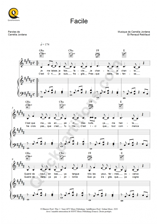 Facile Piano Sheet Music - Camélia Jordana
