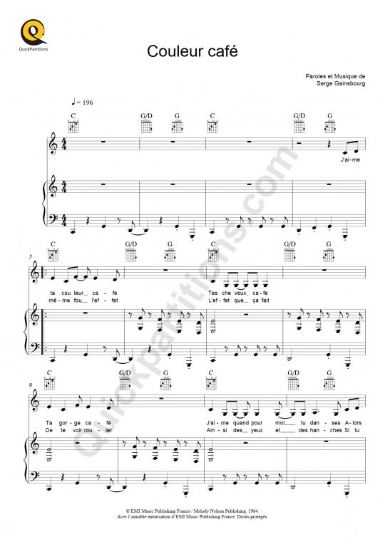 Partition piano Couleur café - Serge Gainsbourg