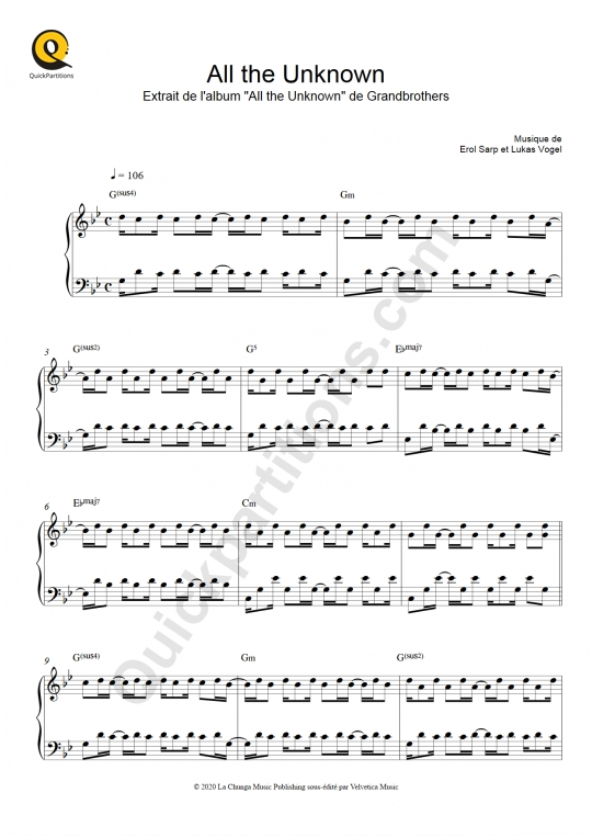 All the Unknown Piano Sheet Music - Grandbrothers