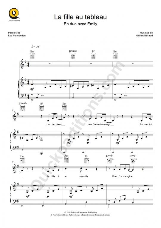 Partition piano La fille au tableau - Gilbert Bécaud