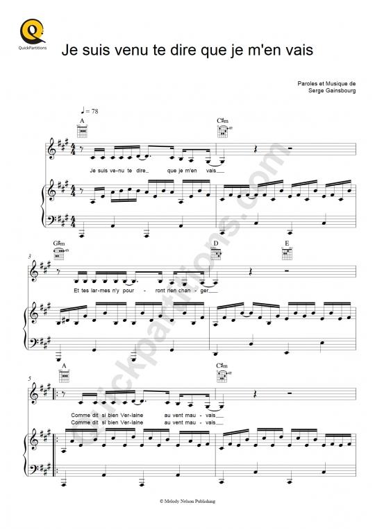 Partition piano Je suis venu te dire que je m'en vais - Serge Gainsbourg