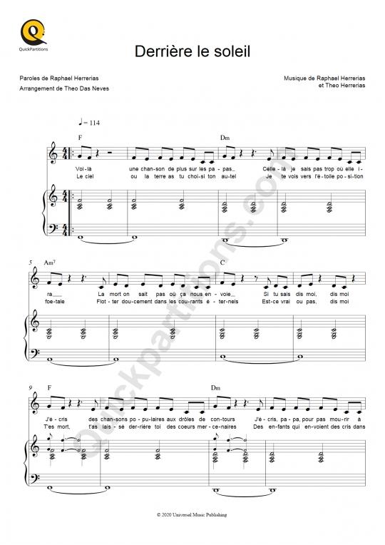 Derrière le soleil Piano Sheet Music - Terrenoire